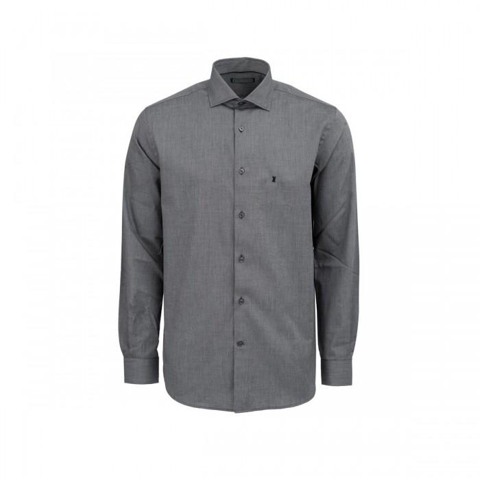 THE BOSTONIANS ανδρικό πουκάμισο μονόχρωμο με κεντημένο λογότυπο - 3AAP1693