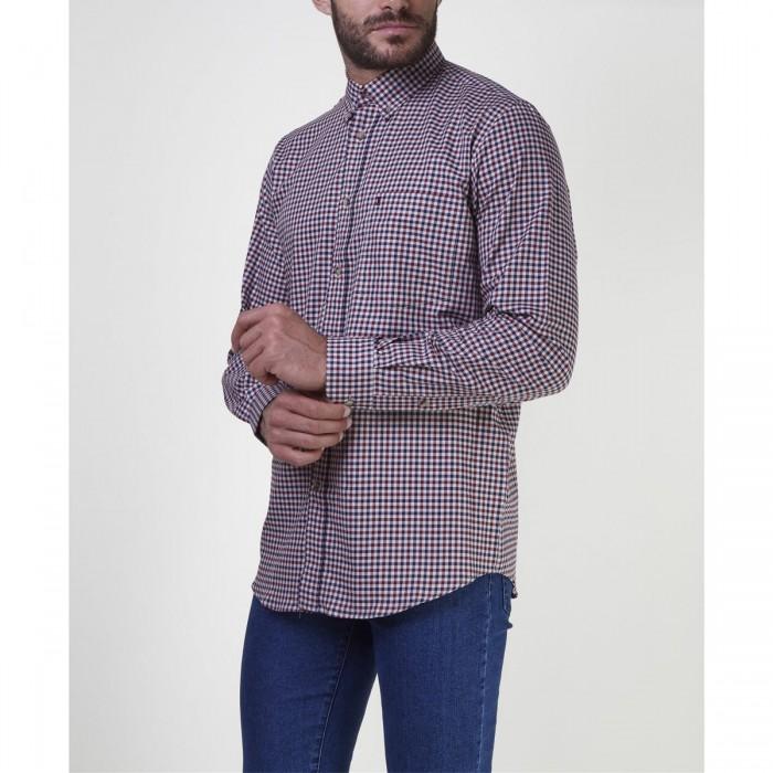 THE BOSTONIANS ανδρικό πουκάμισο με μικροσχέδιο καρό - 3AACH7957