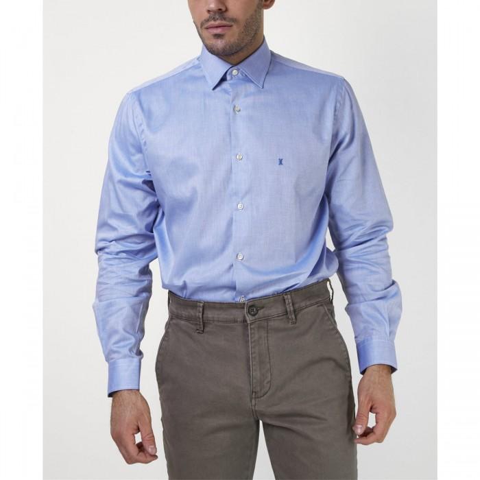 THE BOSTONIANS ανδρικό πουκάμισο μονόχρωμο με κεντημένο λογότυπο - 3AMP0161