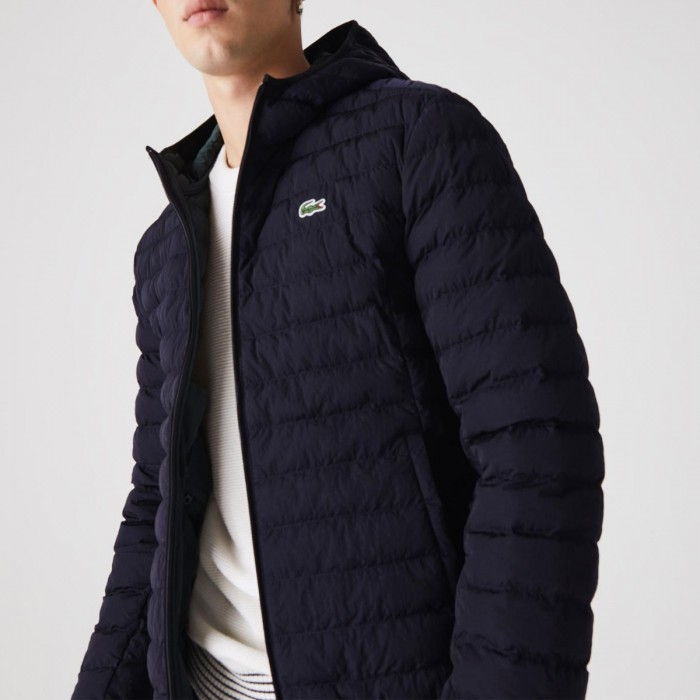 LACOSTE Men's Lightweight Foldable Hooded Water-Resistant Puffer Coat - 3BH1930