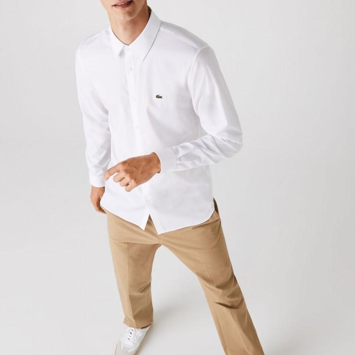 LACOSTE Men's Slim Fit Stretch Cotton Poplin Shirt - 3CH2668