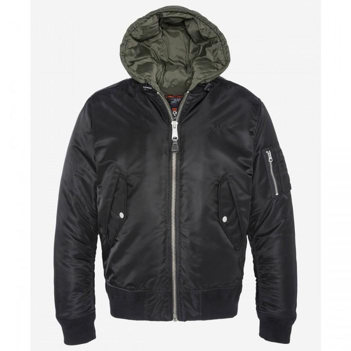 SCHOTT MA20 MA-1 Bomber jacket, removable nylon hooded center front placket