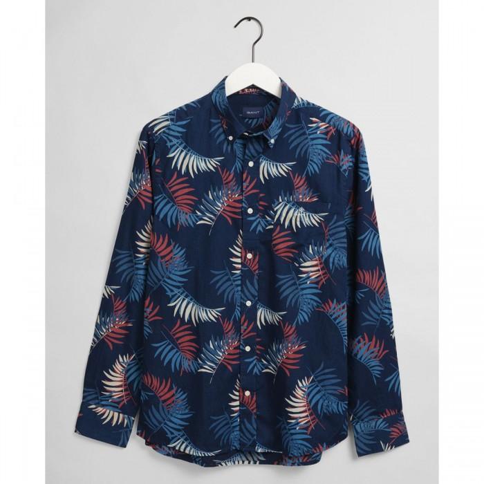 GANT Regular Fit Surf Palm Print Indigo Shirt - 3G3033830