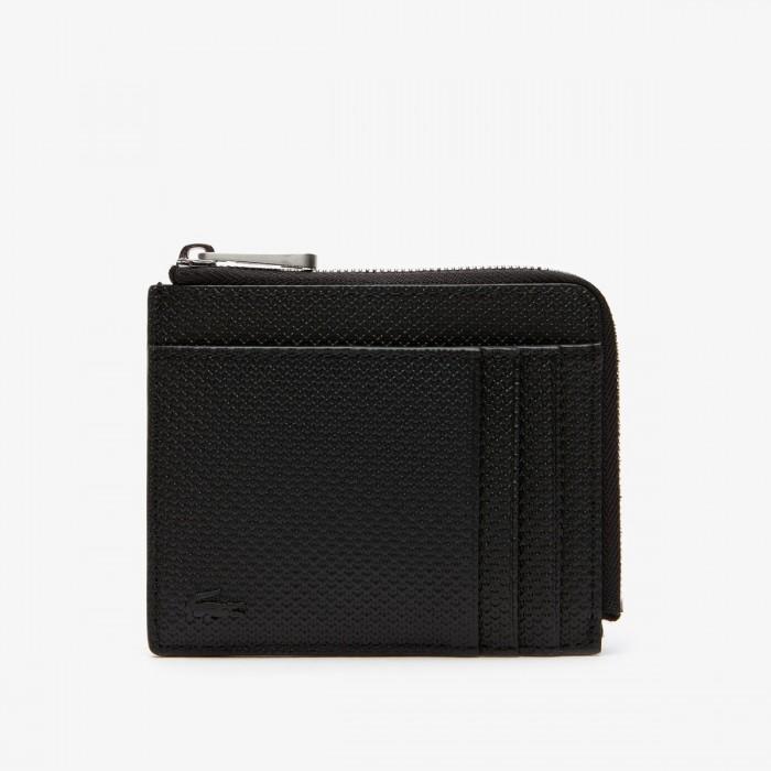 LACOSTE Men's Chantaco Matte Piqué Leather Zip 4 Card Holder - 3NH2823CE