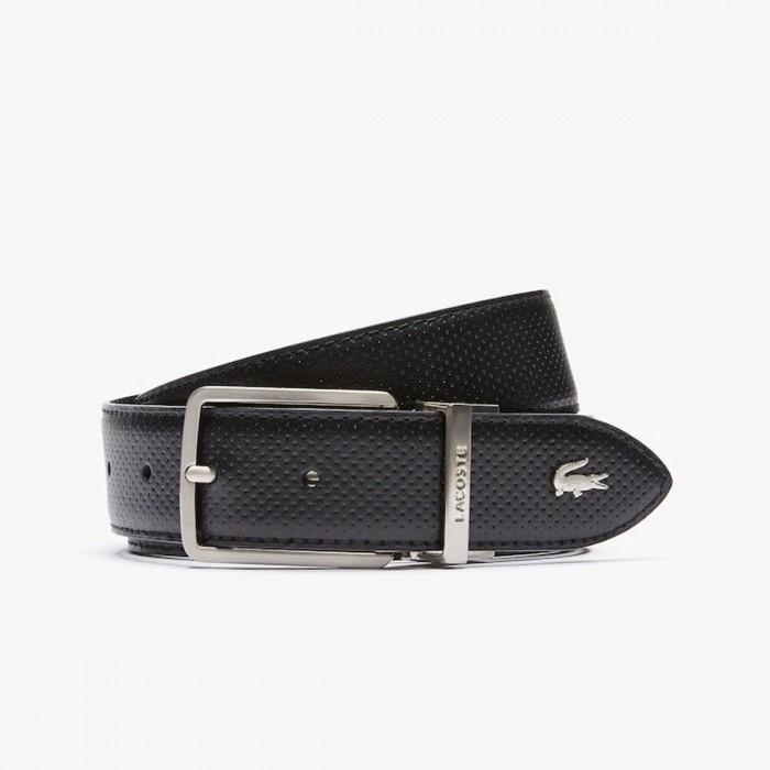 LACOSTE Men's  Engraved Buckle Reversible Piqué Leather Belt - 3RC4002