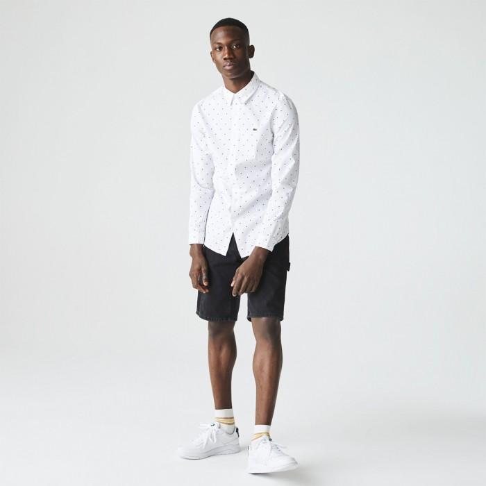 LACOSTE Men's Slim Fit Polka Dot Cotton Poplin Shirt - 3CH0949