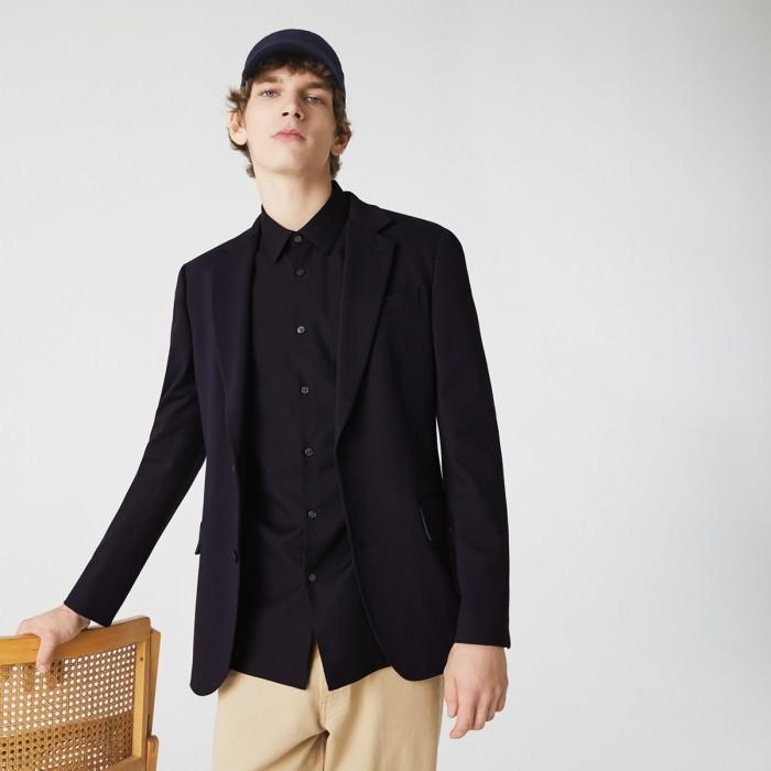 LACOSTE Men's Regular Fit Piqué Cotton Poplin Shirt - 3CH2741