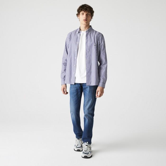 LACOSTE Men's Regular Fit Striped Cotton Shirt - 2@3CH2936