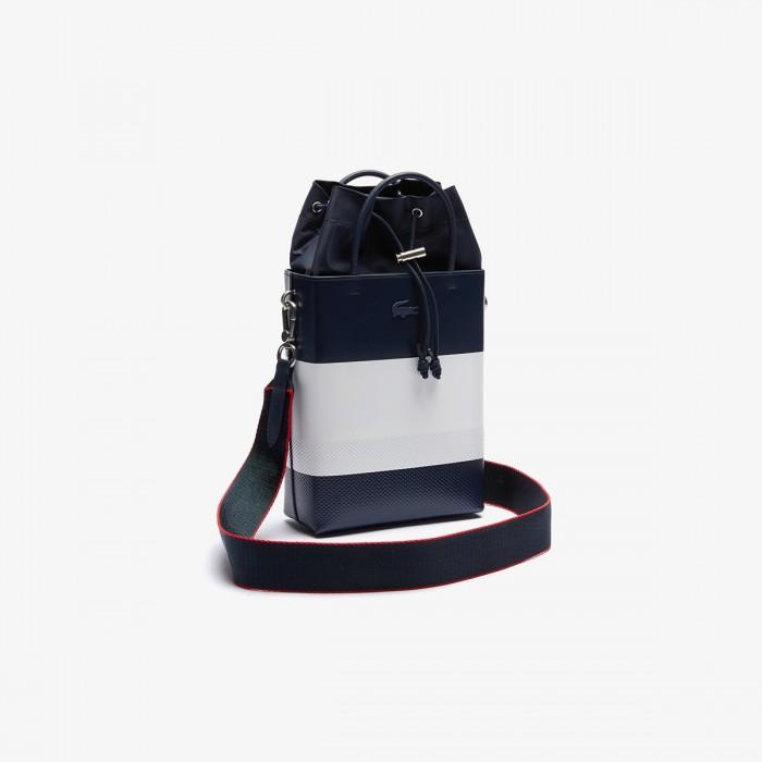 LACOSTE Women's Chantaco Rectangular Colourblock Piqué Leather Bucket Bag - 3NF3393AP