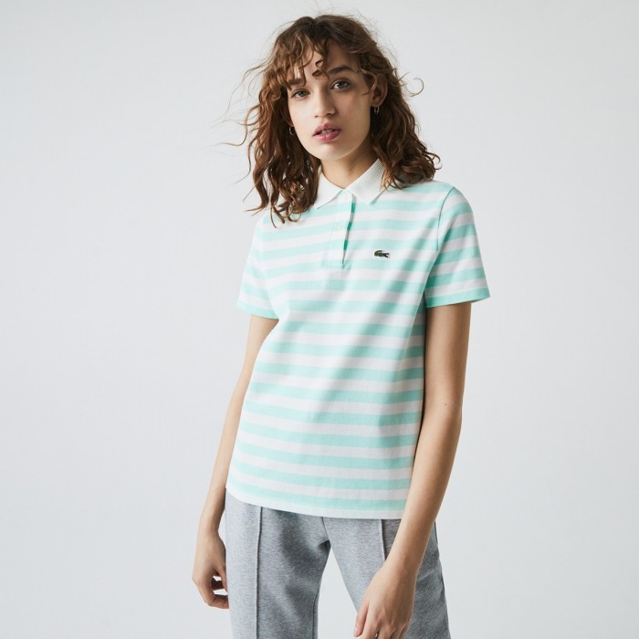 LACOSTE Women's Regular Fit Mesh Collar Striped Cotton Polo Shirt - 3PF0621