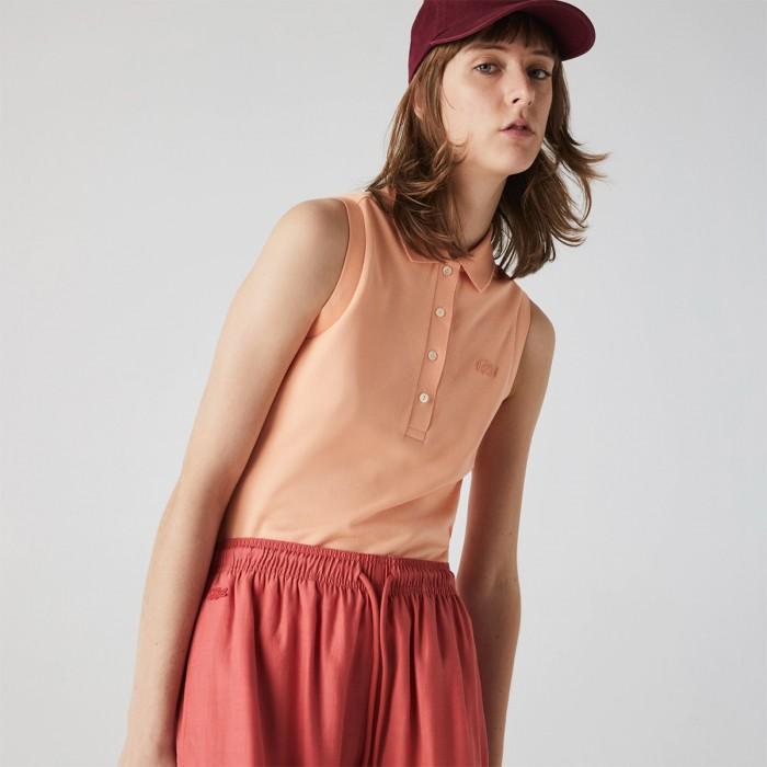 LACOSTE Women's Slim fit Sleeveless Cotton Piqué Polo Shirt - 3PF5445