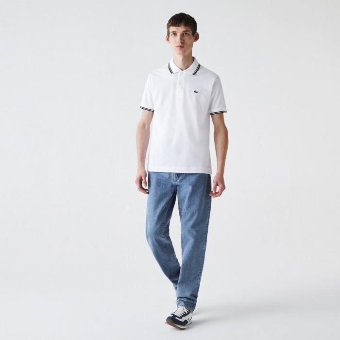 LACOSTE Men's Classic Fit Striped Accents Cotton Piqué Polo - 3PH2384