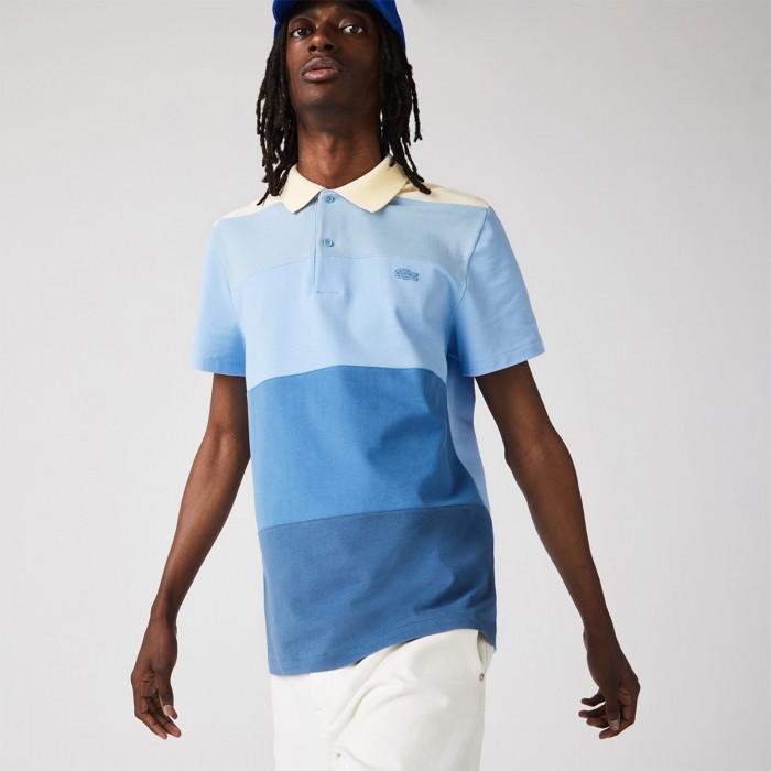 LACOSTE Men's Regular Fit Fresh Colourblock Cotton Piqué Polo Shirt - 3PH9719