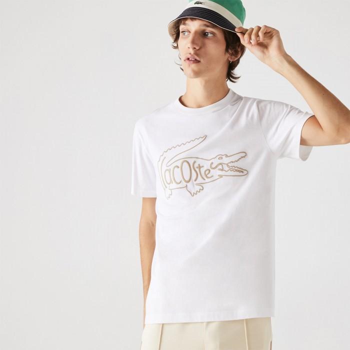 LACOSTE Men's Crew Neck Crocodile Embroidery Cotton T-shirt - 3TH0051