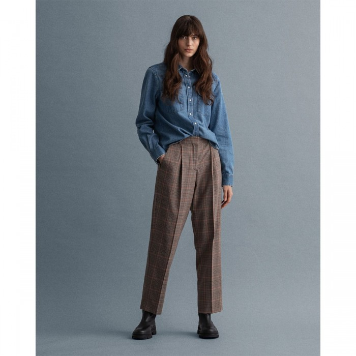 GANT Check High-Waisted Pleated Pants - 3GW4150201