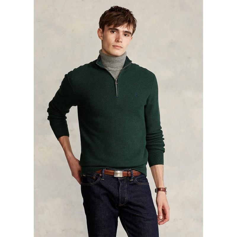 Mesh-Knit Cotton Quarter-Zip Sweater - 710701611010 - POLO RALPH LAUREN