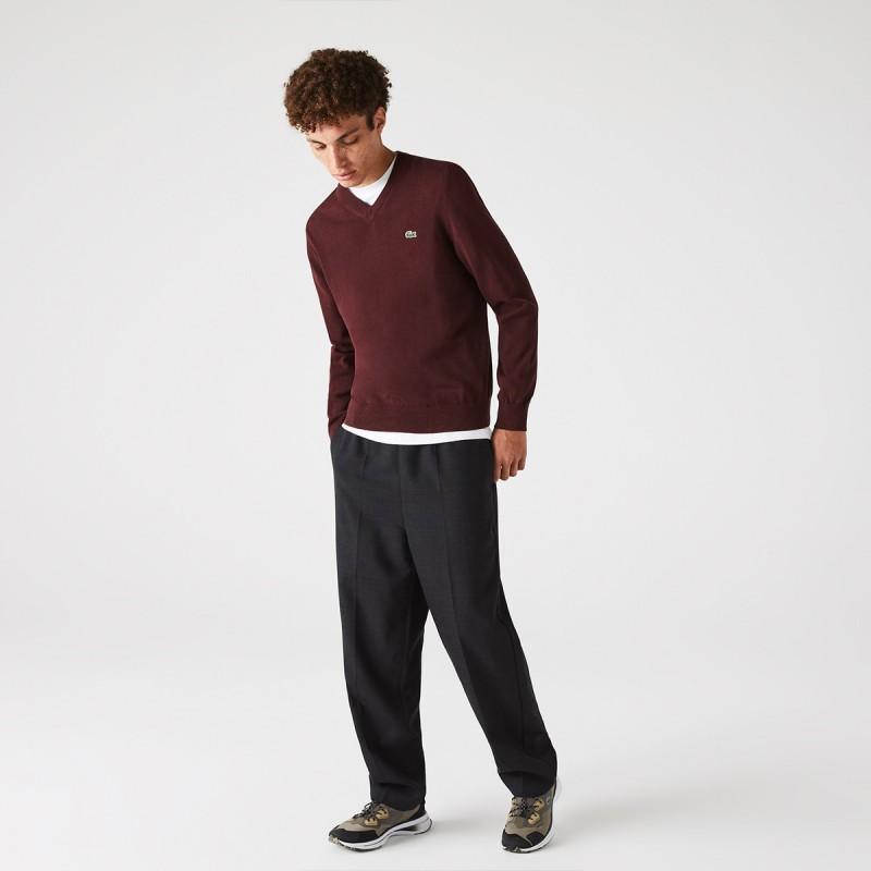 LACOSTE Men's V-neck Organic Cotton Sweater - 3AH1951