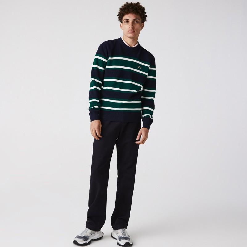LACOSTE Men's Heritage Crew Neck Striped Cotton Sweater - 3AH6805