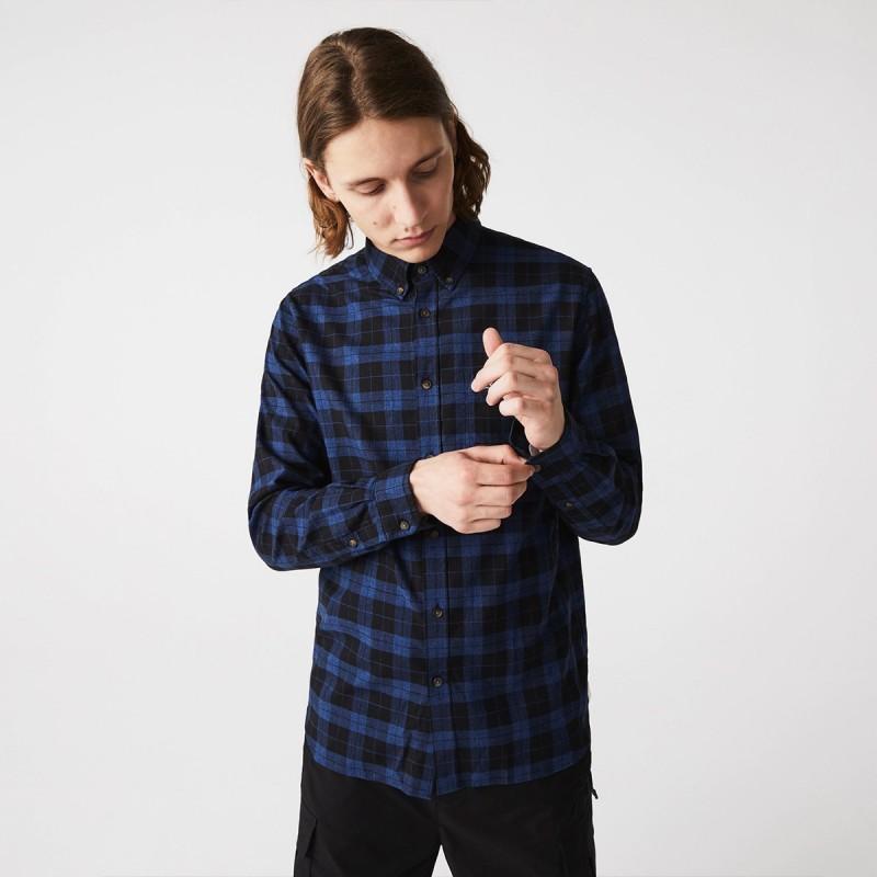 LACOSTE Men's Regular Fit Cotton Twill Checkered Shirt - 2@3CH2565