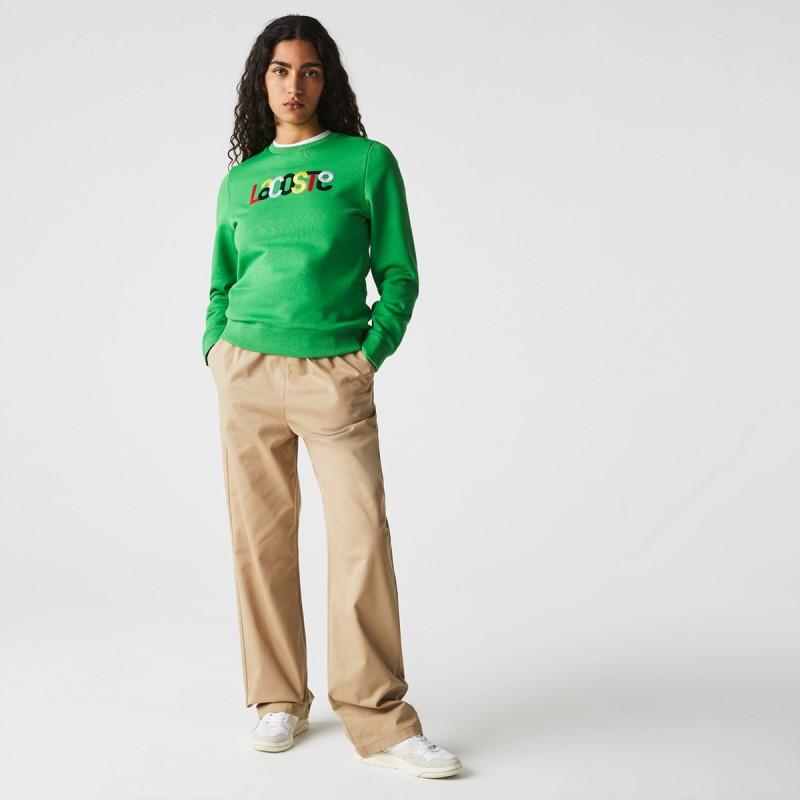 LACOSTE Women's Crew Neck Colored Embroidery Fleece Sweatshirt - 3SF7070