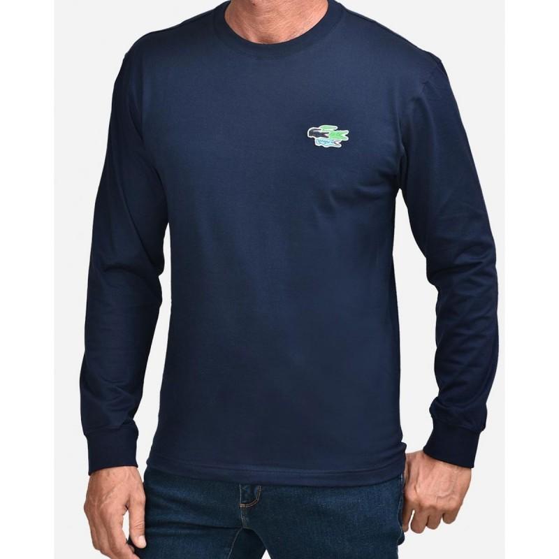 LACOSTE Men's Crew Neck Custom Logo Long Sleeve T-shirt - 3TH7984