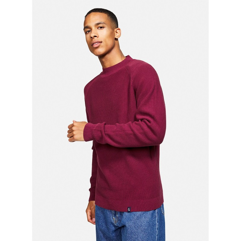 ORGANIC COTTON SWEATER WITH STAND-UP COLLAR DARK RED - 9221-125 - COLOURS & SONS