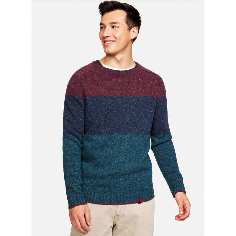 WOOL SWEATER BLOCK STRIPES TURQUOISE-RED - 9221-142 - COLOURS & SONS