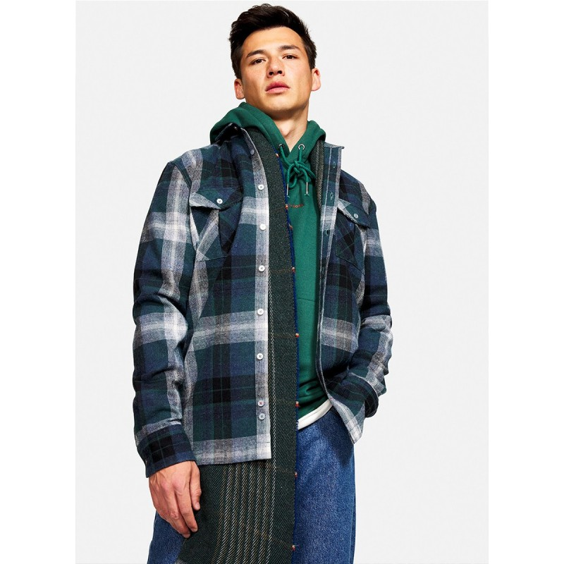 SHIRT MADE FROM RECYCLED MATERIALS CHECKED GREEN - 9221-320 - COLOURS & SONS
